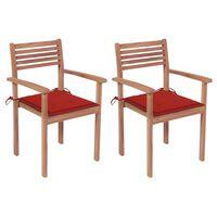 vidaXL Chaises de jardin 2 pcs avec coussins rouge Bois de teck massif