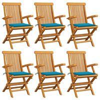 vidaXL Chaises de jardin avec coussins bleu 6 pcs Bois de teck massif
