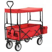 vidaXL Chariot à main pliable avec toit Acier Rouge
