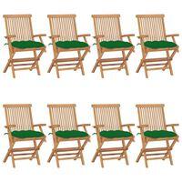 vidaXL Chaises de jardin avec coussins vert 8 pcs Bois de teck massif