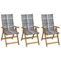 vidaXL Chaises pliables de jardin 3 pcs avec coussins Bois d'acacia