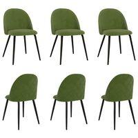 vidaXL Chaises de salle à manger 6 pcs Vert Tissu