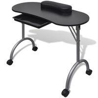 vidaXL Table à manucure pliable avec roulettes Noir