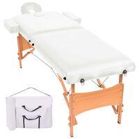 vidaXL Table de massage pliable à 2 zones 10 cm d'épaisseur Blanc