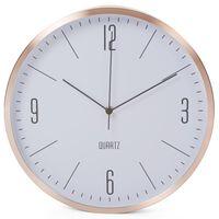 Perel Horloge murale 30 cm Blanc et doré rose