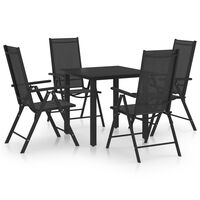 vidaXL Ensemble de salle à manger de jardin 5 pcs Aluminium Noir
