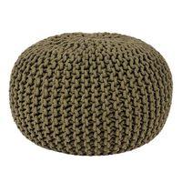 LABEL51 Pouf tricoté Coton M Vert d'armée