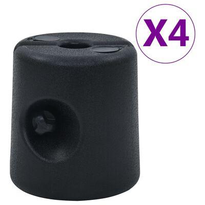 vidaXL Poids de tonnelle 4 pcs PE Noir