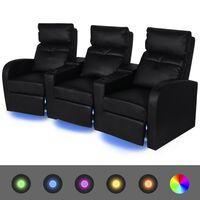 vidaXL Fauteuil inclinable à LED 3 places Cuir Artificiel Noir