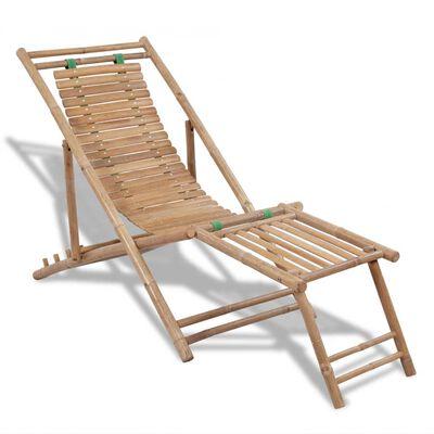 vidaXL Chaise de terrasse d'extérieur avec repose-pied Bambou