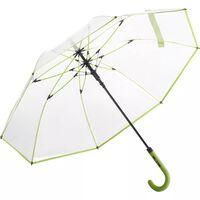 Parapluie canne transparent - 7112 - bord vert lime