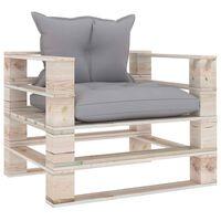 vidaXL Canapé palette de jardin avec coussins gris Bois de pin
