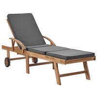 vidaXL Chaise longue avec coussin Bois de teck solide Gris foncé