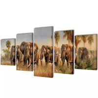 Set de toiles murales imprimées Éléphants 100 x 50 cm