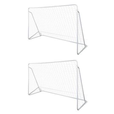 vidaXL Filets de but de football Acier 2 pcs 240x90x150 cm