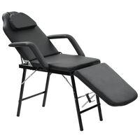 vidaXL Fauteuil de massage pour traitement facial Simili-cuir Noir