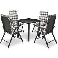vidaXL Mobilier à dîner d'extérieur 5 pcs avec coussins Aluminium Noir