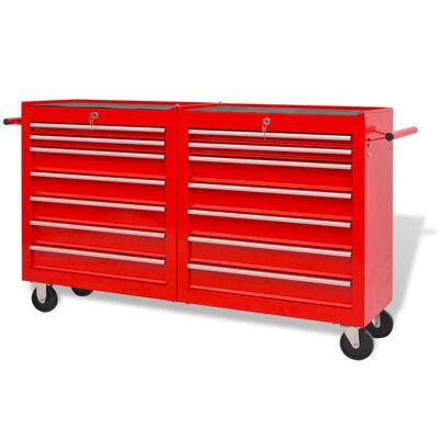 vidaXL Chariot à outils pour atelier 14 tiroirs Taille XXL Acier Rouge