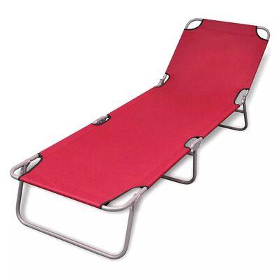 vidaXL Chaise longue pliable Acier enduit de poudre Rouge