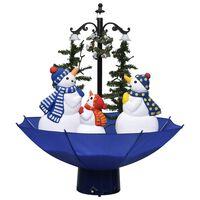 vidaXL Arbre de Noël neigeux avec base de parapluie Bleu 75 cm PVC