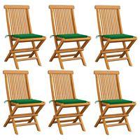 vidaXL Chaises de jardin avec coussins vert 6 pcs Bois de teck massif
