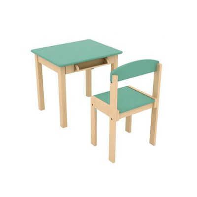 Table Enfant en Bois avec Rouleau de Papier and Chaise - Vert Cel