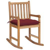 vidaXL Chaise à bascule avec coussin rouge bordeaux Bois de teck