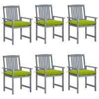 vidaXL Chaises de jardin avec coussins 6 pcs Bois d'acacia massif Gris