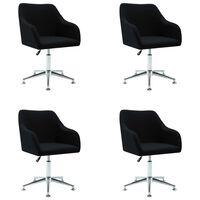 vidaXL 4 pcs Chaises pivotantes de salle à manger Noir Tissu