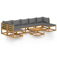 vidaXL Salon de jardin 8 pcs avec coussin Bois d'acacia solide