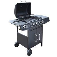 vidaXL Barbecue à gaz 4 + 1 zone de cuisson Noir