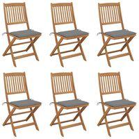 vidaXL Chaises pliables de jardin 6 pcs avec coussins Bois d'acacia