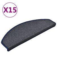 vidaXL Tapis de marches d'escalier 15 pcs Gris foncé et bleu 65x24x4cm