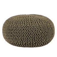 LABEL51 Pouf tricoté Coton L Vert d'armée