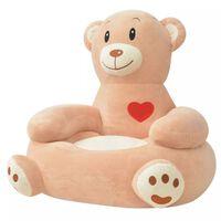 vidaXL Chaise pour enfants en peluche ours Marron