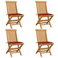 vidaXL Chaises de jardin avec coussins rouge 4 pcs Bois de teck massif
