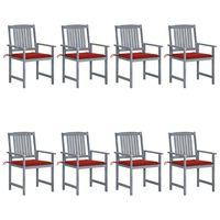 vidaXL Chaises de jardin avec coussins 8 pcs Bois d'acacia solide Gris