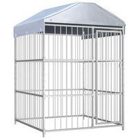 vidaXL Chenil d'extérieur avec toit pour chiens 150x150x200 cm