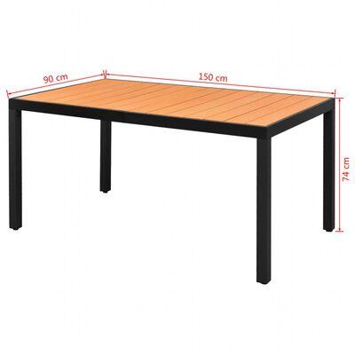 vidaXL Table de jardin Marron 150 x 90 x 74 cm Aluminium et WPC