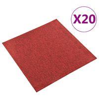 vidaXL Dalles de tapis de sol 20 pcs 5 m² 50x50 cm Rouge