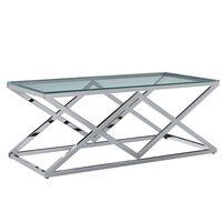 vidaXL Table basse Transparent 120x60x45 cm Verre trempé et inox
