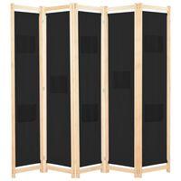 vidaXL Cloison de séparation 5 panneaux Noir 200 x 170 x 4 cm Tissu