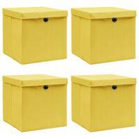 vidaXL Boîtes de rangement et couvercles 4 pcs Jaune 32x32x32 cm Tissu