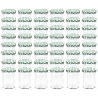 vidaXL 48 pcs Pots à confiture Couvercle blanc et vert Verre 400 ml