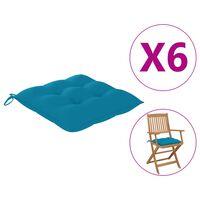 vidaXL Coussins de chaise 6 pcs Bleu clair 40x40x7 cm Tissu