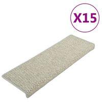 vidaXL Tapis d'escalier autocollants 15 pcs 65x25 cm Gris