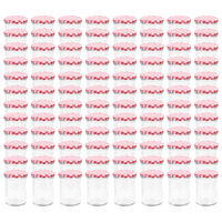vidaXL Pots à confiture Couvercle blanc et rouge 96 pcs Verre 400 ml