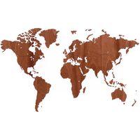MiMi Innovations Décoration carte du monde murale Sapelli 130x78 cm