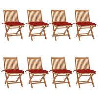 vidaXL Chaises pliables de jardin avec coussins 8 pcs Teck solide