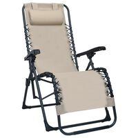 vidaXL Chaise pliable de terrasse Crème Textilène